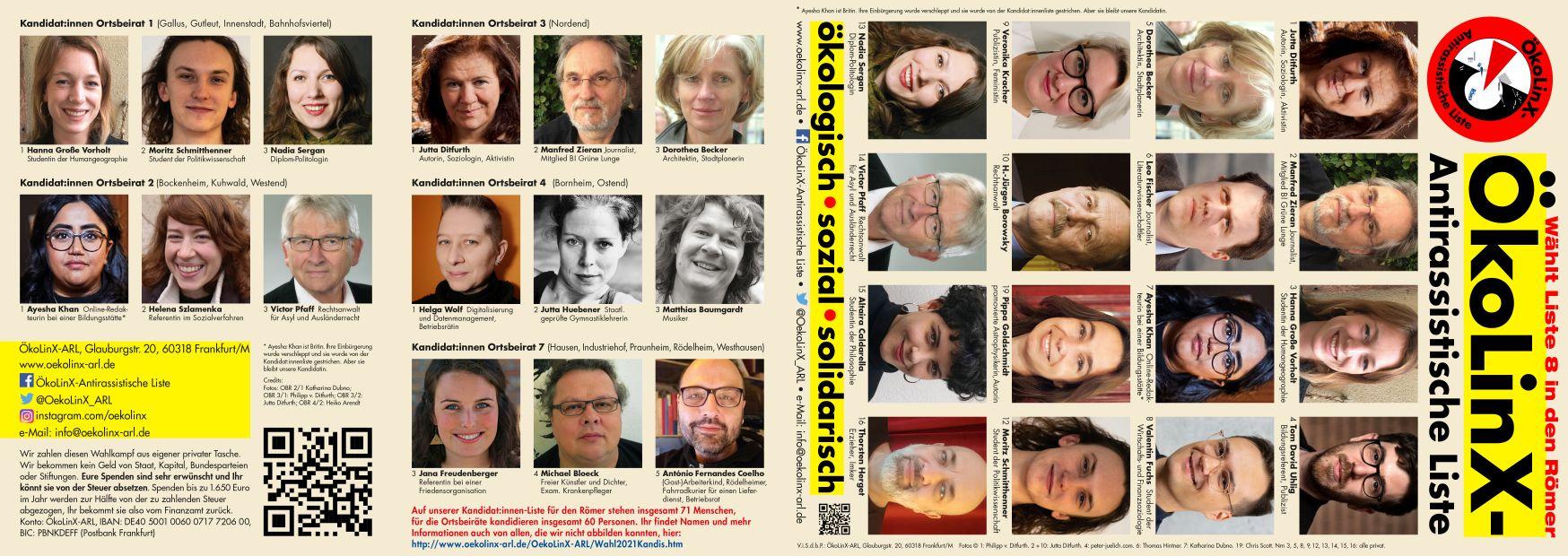 Flyer mit Manifest, Bilder der ersten Kandidat:innen für die Ortsbeiräte und die Stadtliste zur Kommunalwahl in Frankfurt am Main am 14.3.2021