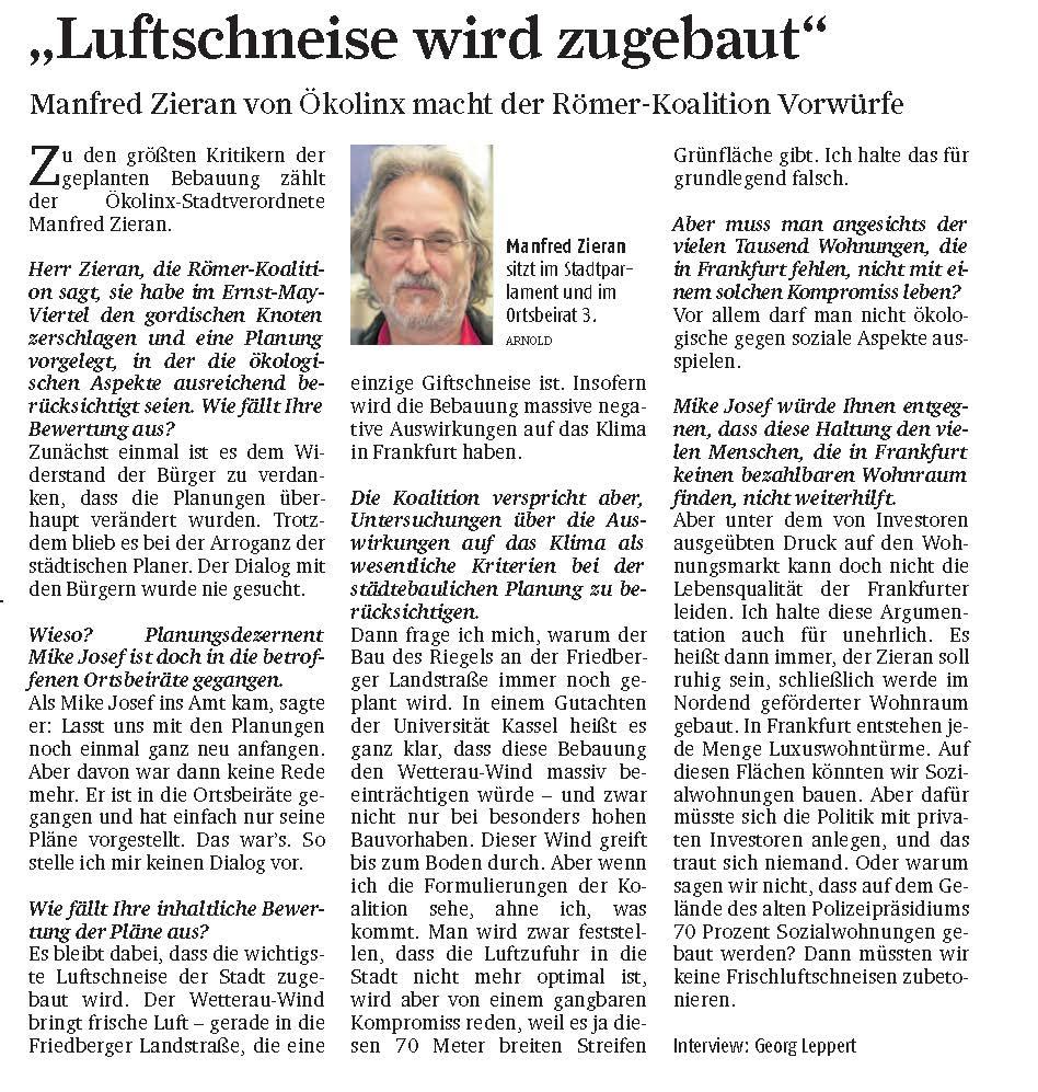 Manfred Zieran: Luftschneise wird zugebaut