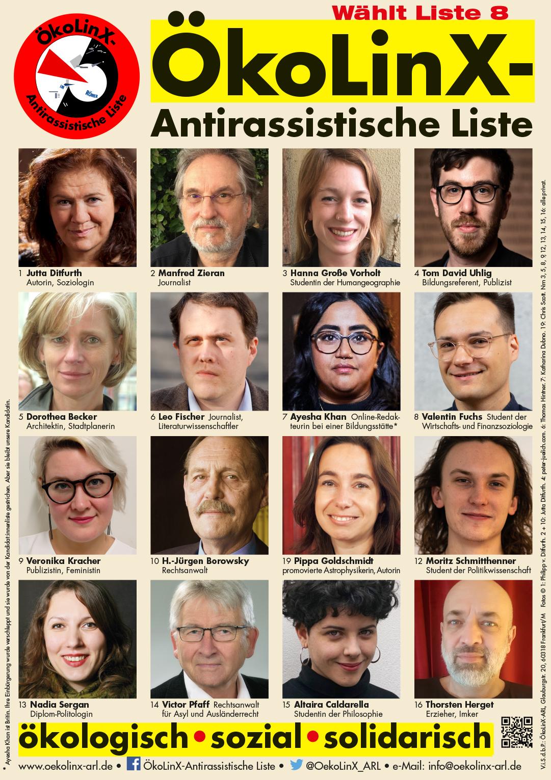 ÖkoLinX-ARL: »Plakat mit 16 von 71 unserer Kandidat:innen zur Kommunalwahl am 14.3.2021«
